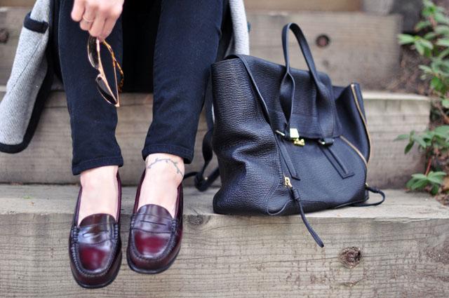 oxford loafers+phillip lim pashli bag
