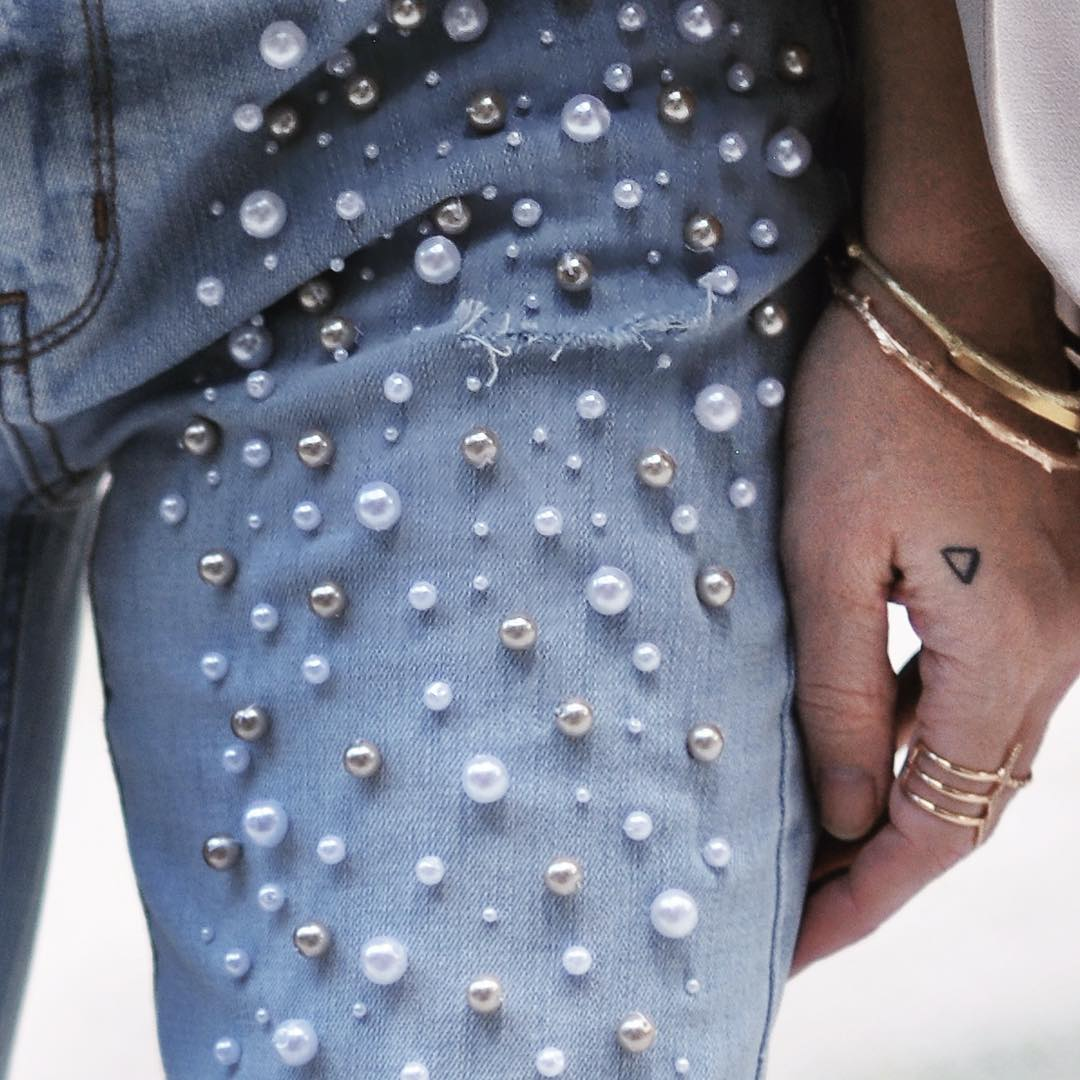 pearl embellished jeans_tiny hand tattoo
