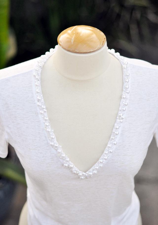 pearl v-neck diy