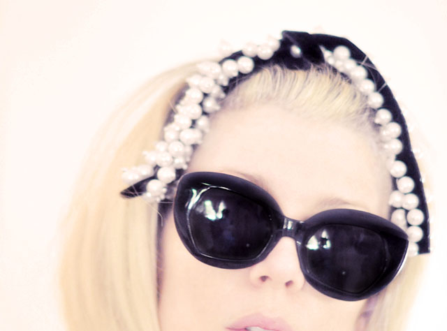 pearls in hair- retro sunglasses
