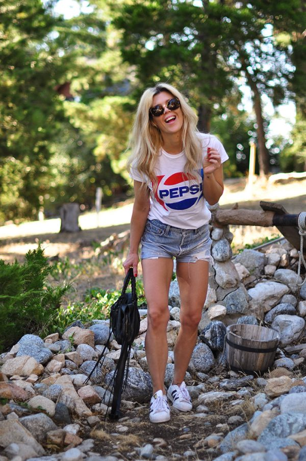 pepsi tshirt-vintage levis cutoff shorts-4th of july style