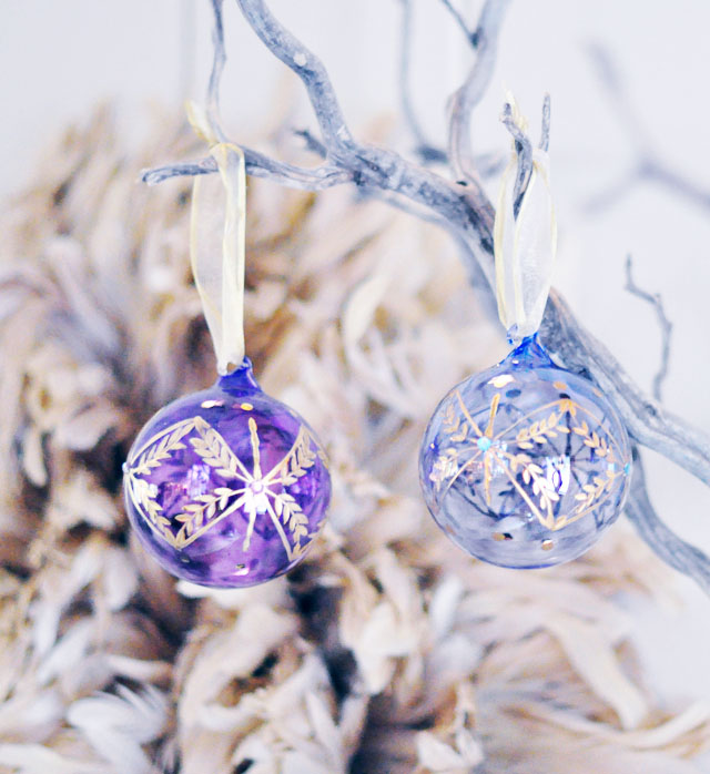 personalized hand painted  glass christmas ornaments