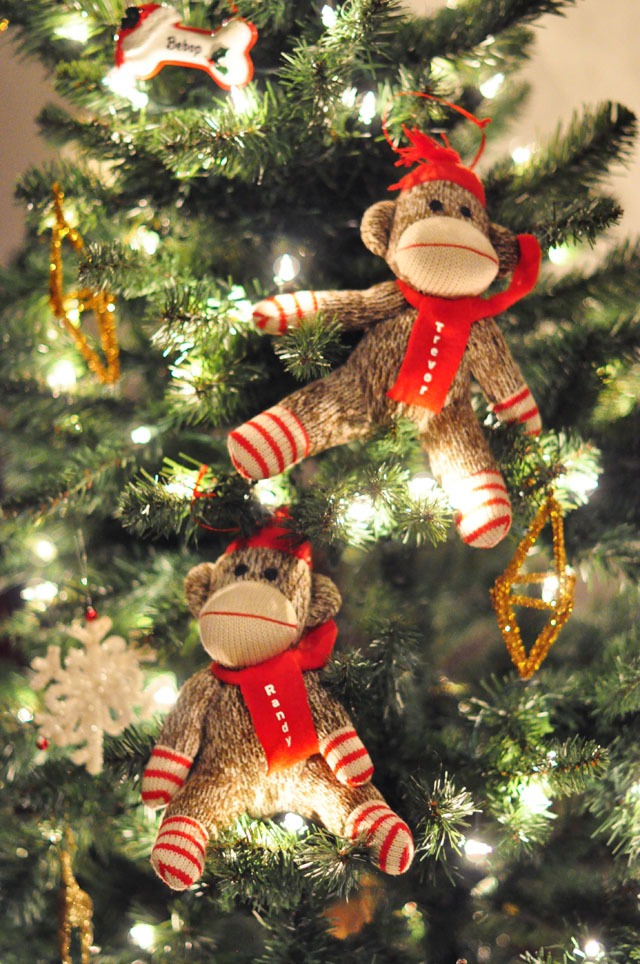personalized  sock monkey christmas ornaments