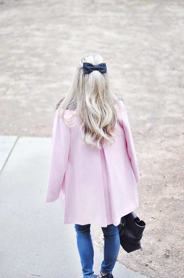 pink coat_half up hair bow