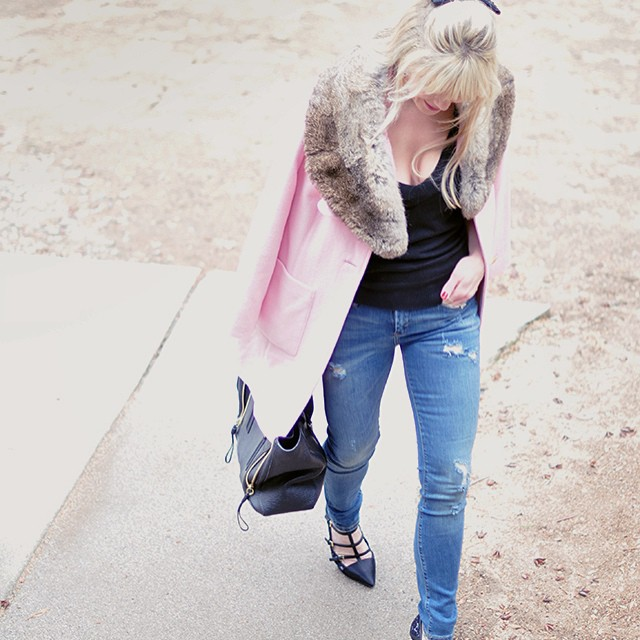 pink coat_ripped skinny jeans