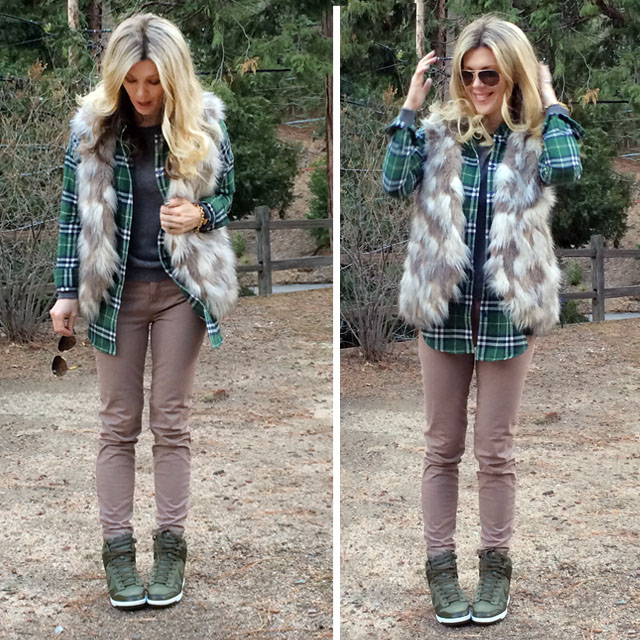 plaid and faux fur with sneaker wedges