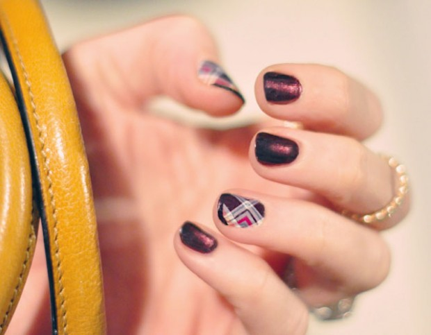 plaid and  plum nails