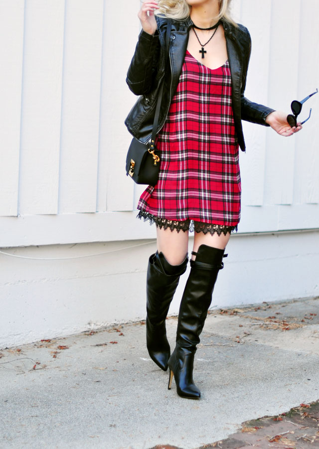 plaid dress with lace trim - over the knee boots-moto jacket