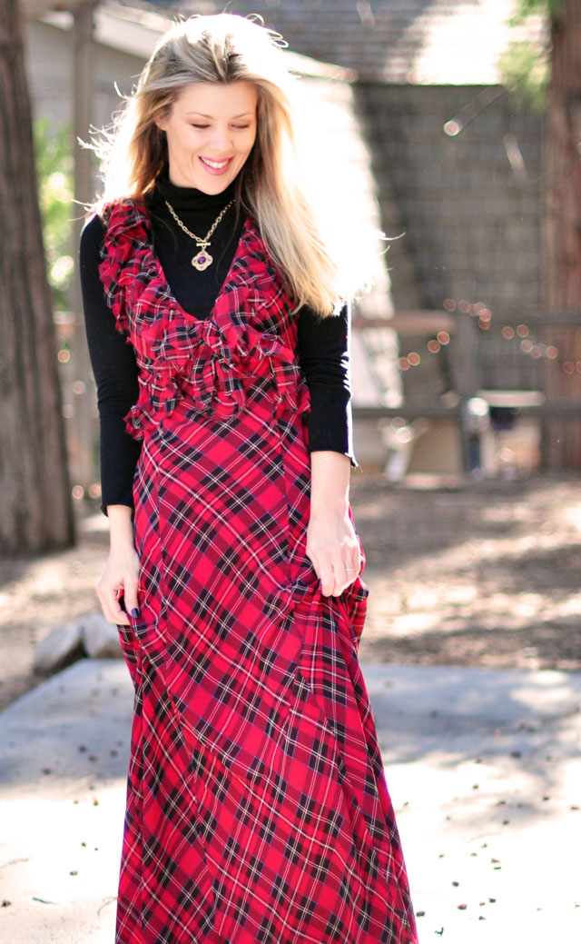 plaid maxi dress with turtleneck-70s -2