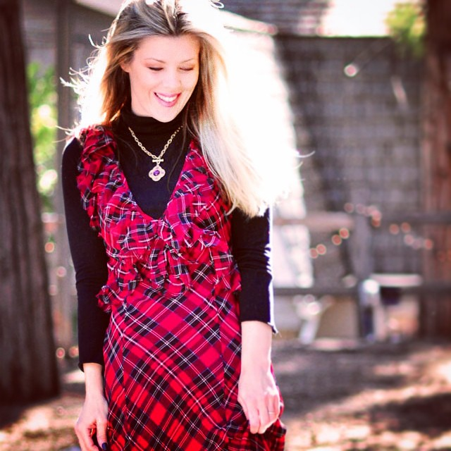 plaid maxi dress with turtleneck