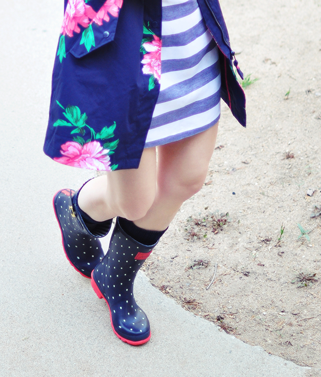 polka dot rain boots + floral rain coat + joules