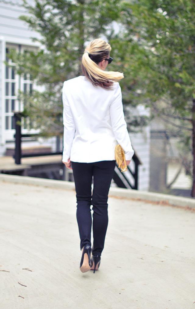 ponytail-white blazer-black pants