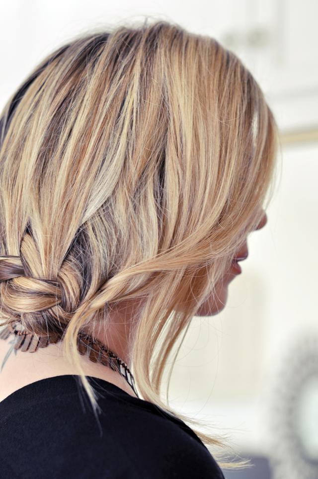 pretty low french braid hair tutorial 1