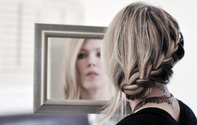 pretty low french braid hair tutorial 4
