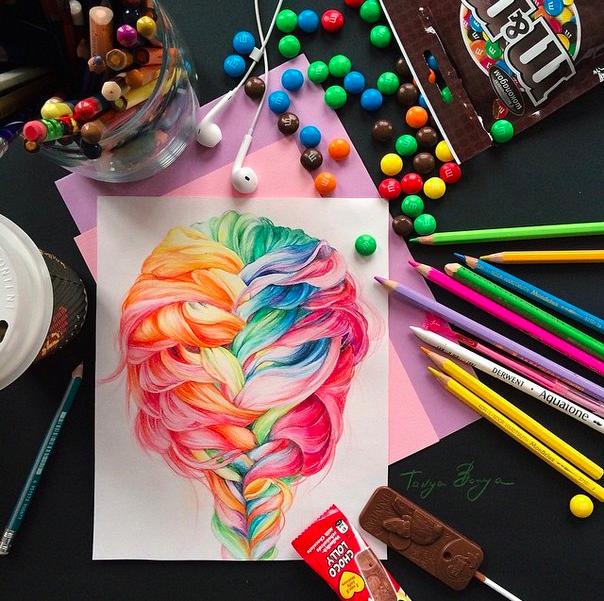 pretty rainbow french braid illustration_tanya bonya