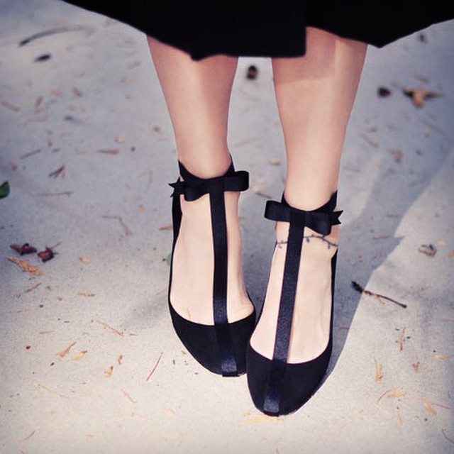 pretty shoes with bow ankle strap