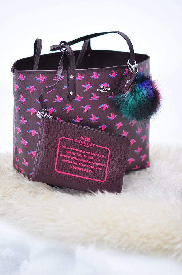 printed coach tote bag with pouch