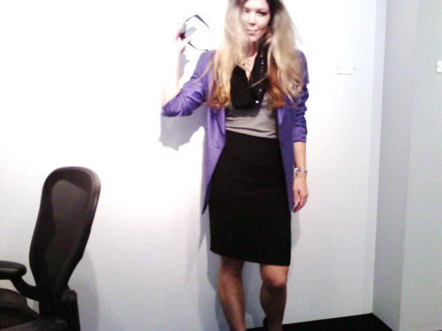 purple blazer-tshirt and pencil skirt 2