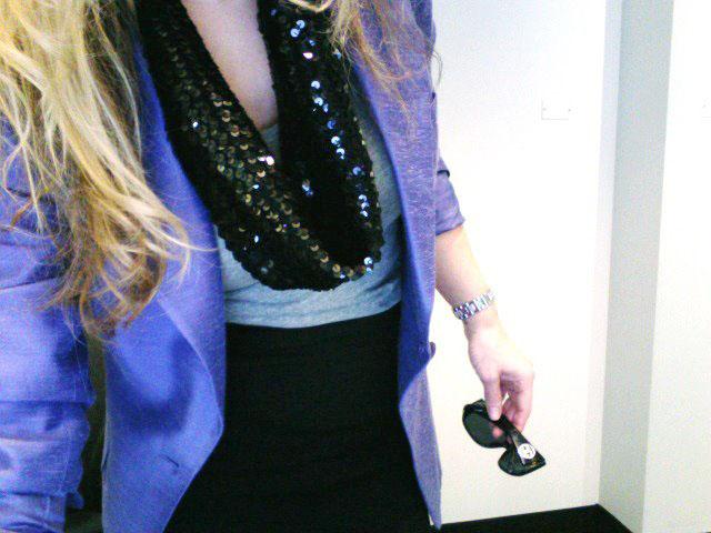 purple blazer-tshirt and pencil skirt 4