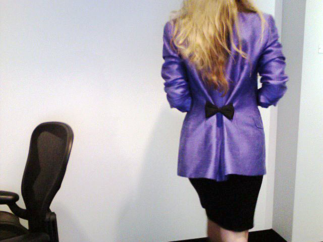 purple blazer-tshirt and pencil skirt bow in the back