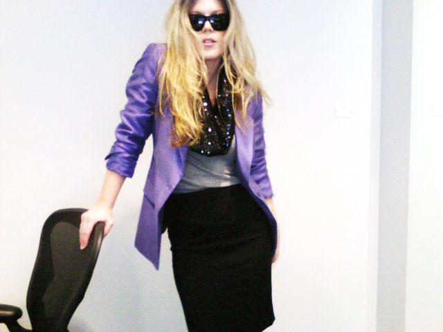 purple blazer-tshirt and pencil skirt