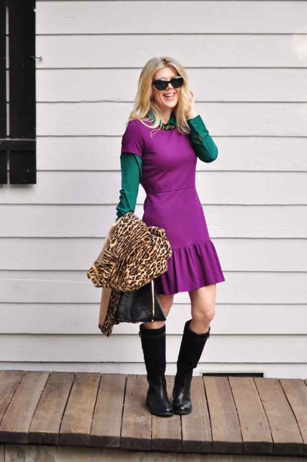 purple dress green blouse leopard coat