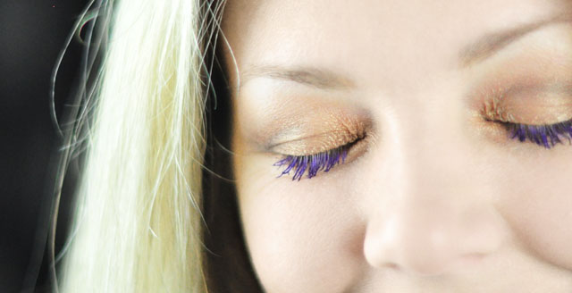 purple mascara review+gold eyeshadow