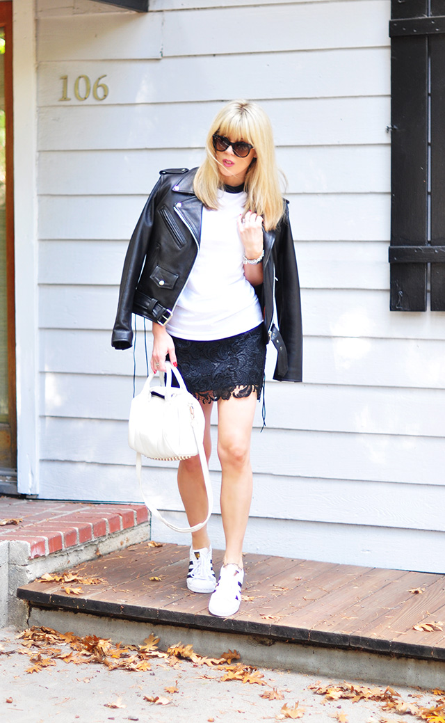 raglan tee-Lace skirt_adidas_leather biker jacket