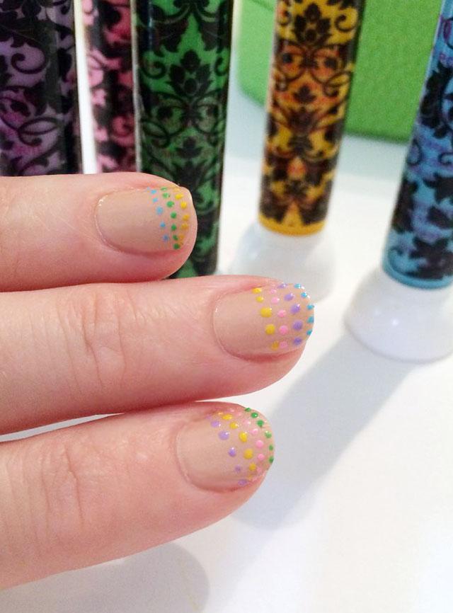 rainbow dot nude nails