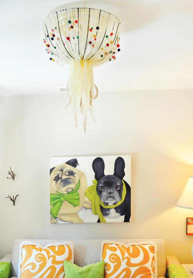 reading room- custom dog painting-DIY pendant lamp