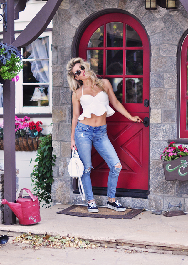 red door_disney house_cropped peplum bustier top and jeans
