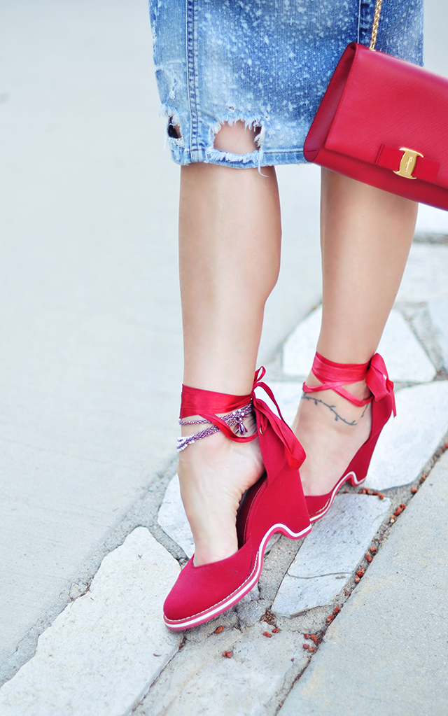 red d'orsay wedges ankle wraps _ red ferragamo bag