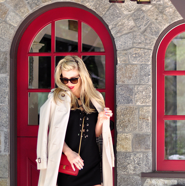 red dutch door_cottage_little black dress_red lips_burberry trench