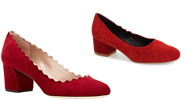 red suede chloe scallop pumps