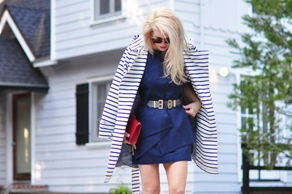 red white and blue outfit - striped trench coat