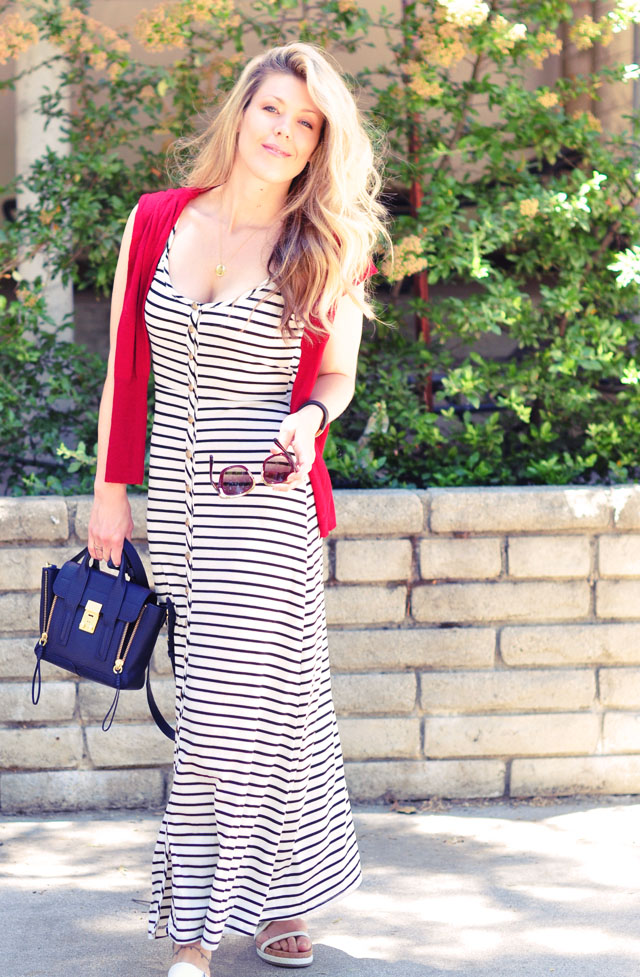 red white and blue striped nautical  maxi 4th of july