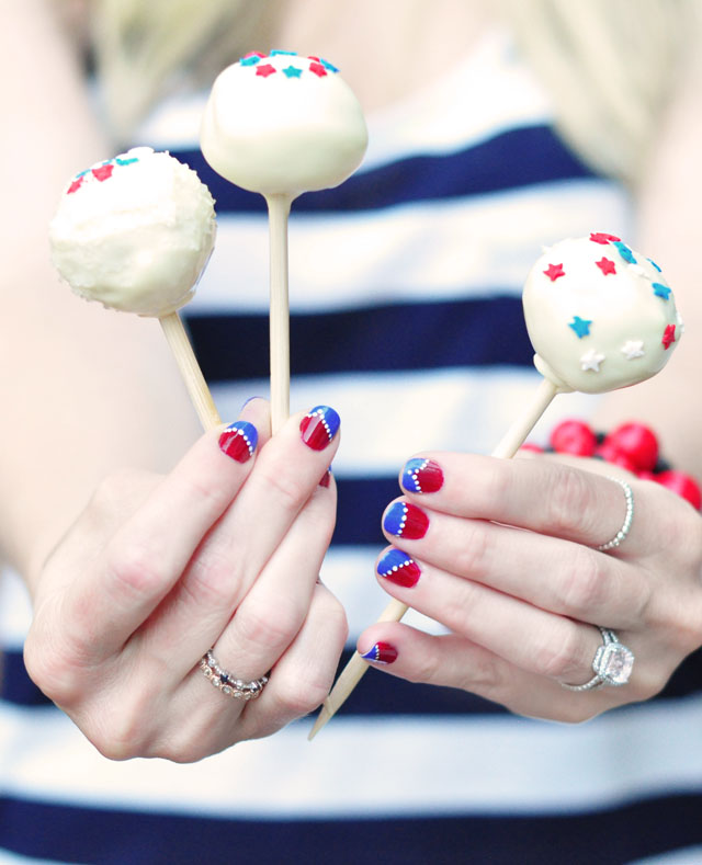 red white blue cake pops and nails for the 4th of july