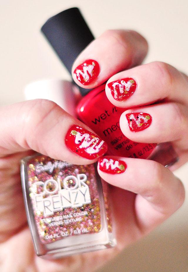 red  white tree glitter christmas nails
