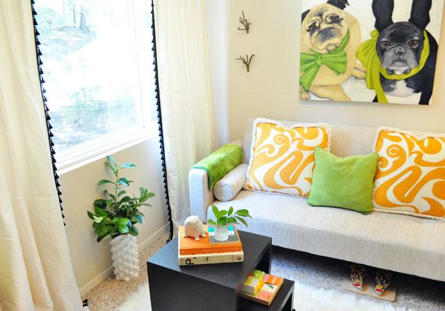 retro futon sofa couch-reading room decor