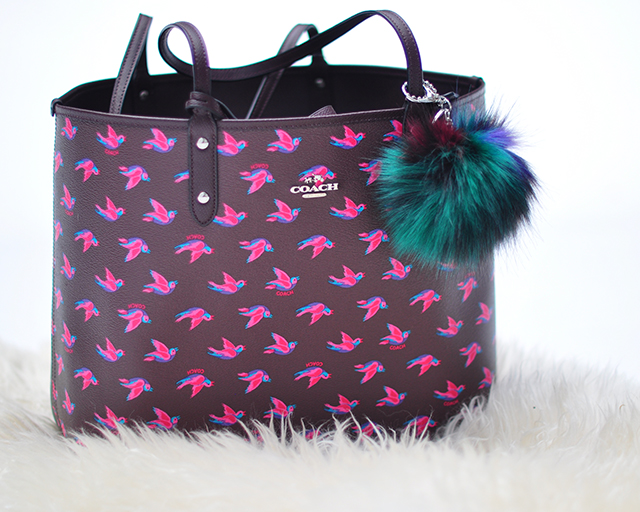 reversible coach tote bag with bird print