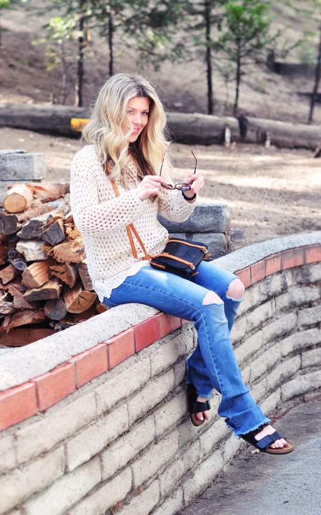 ripped jeans- birkenstocks-bohemian casual
