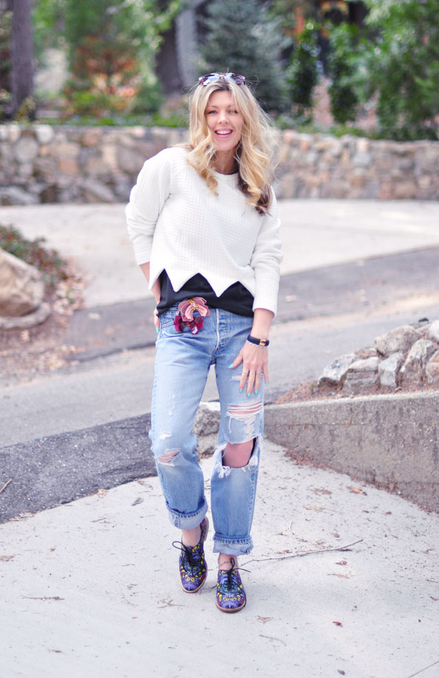 ripped jeans-floral lace ups-2