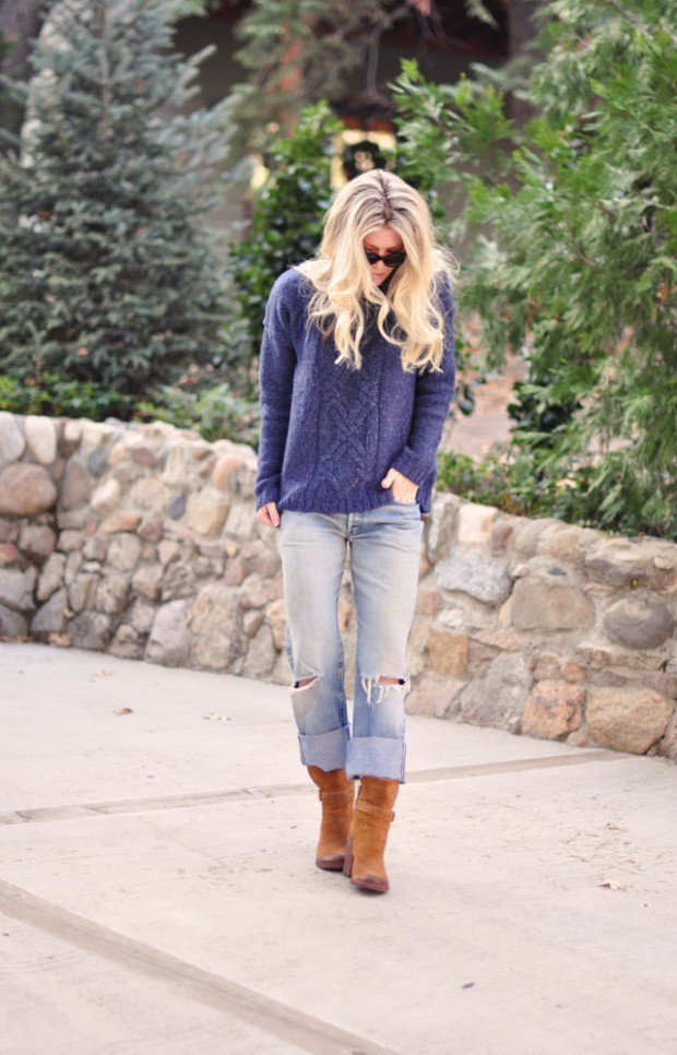 ripped levis boots cozy knit sweater