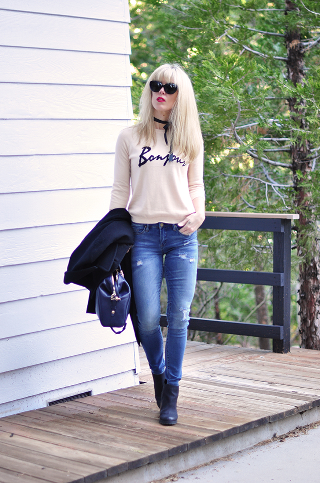 ripped skinny jeans_bonjour sweater_red lips