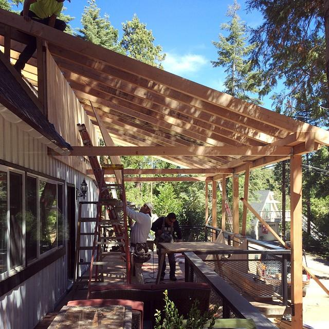 roof canopy over deck progress