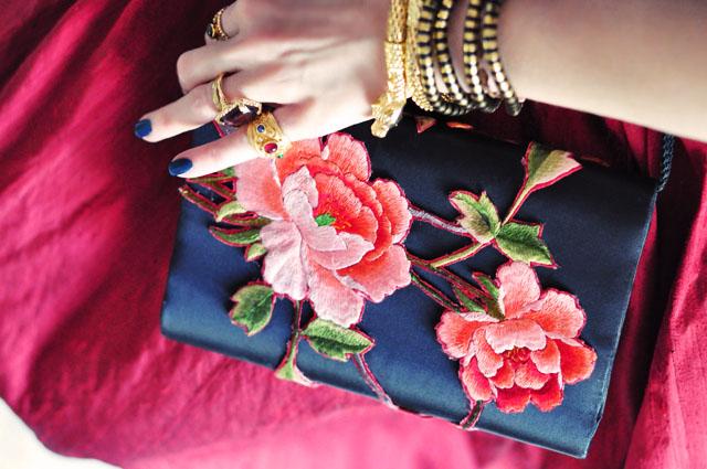 rose embroidered evening bag