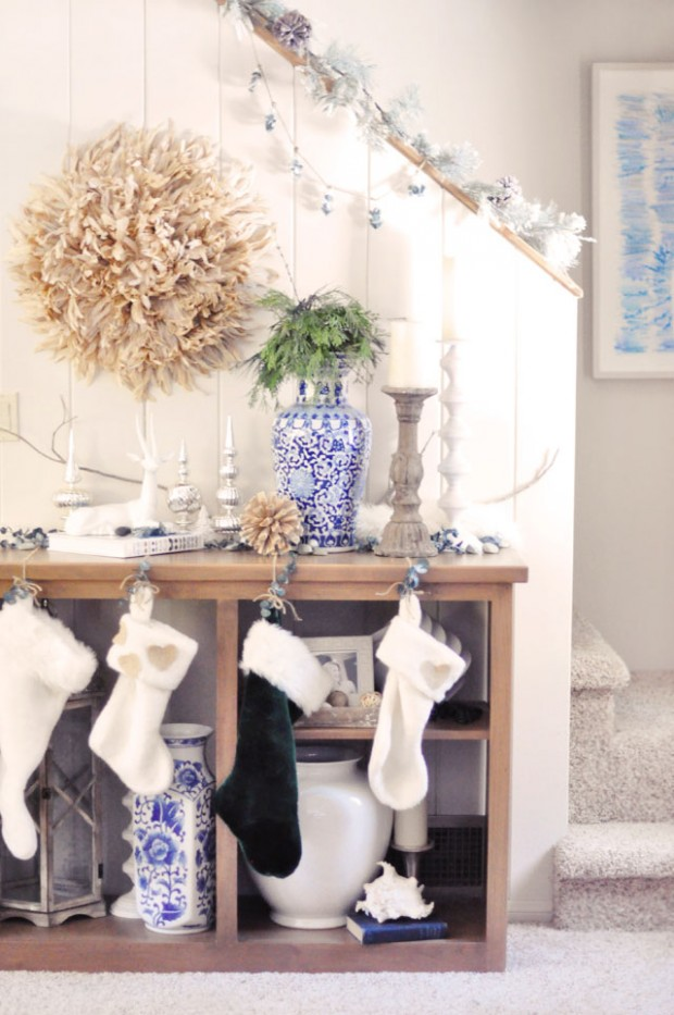 rustic glam holiday decor- hanging stockings from shelves diy