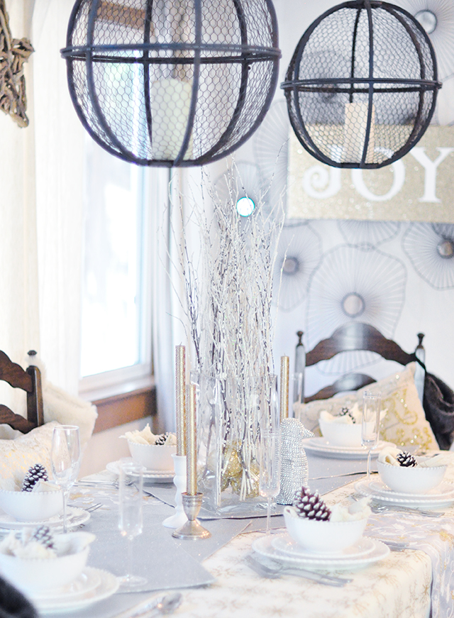 rustic glam winter holiday tablescape
