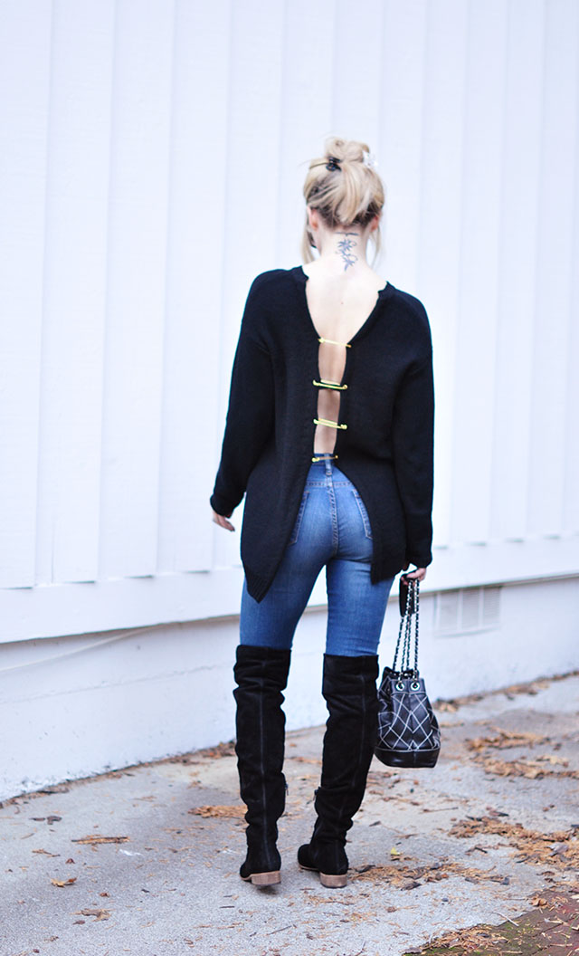 safety pin versace inspired sweater _jeans_boots