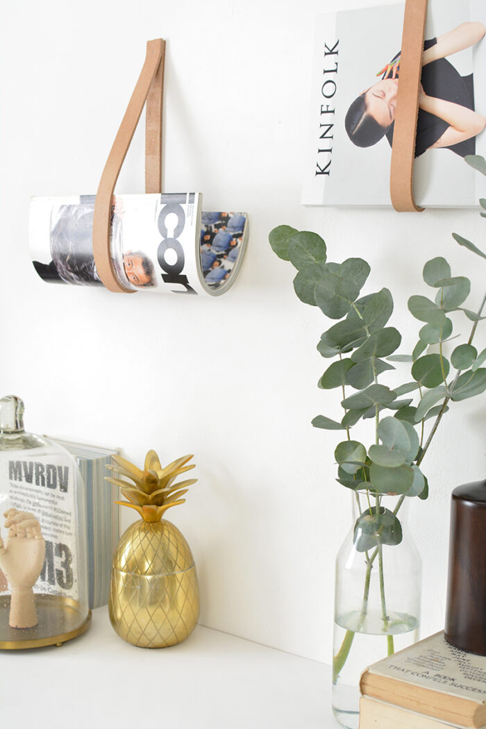 DIY Leather Magazine Wall Holders